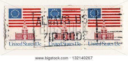 USA circo 1960 set of postage stamps on the theme United States Independent Hall Airmail Post