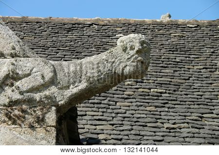Gargoyle on thr facade of breton church , Britrany , France