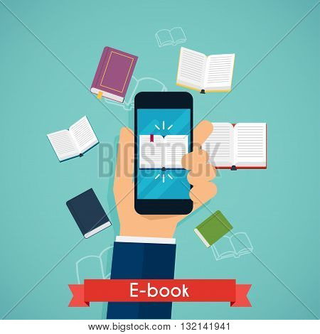 Hand holding mobile smart phone with book icon displayed. Digital book reading. Online reading. Flat design modern vector illustration concept.