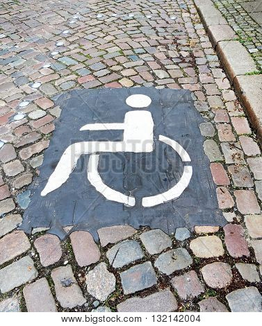 Disabled parking in a historic city. Parking sign.