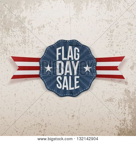 Flag Day Sale greeting Banner with Text and Shadow. Vector Illustration