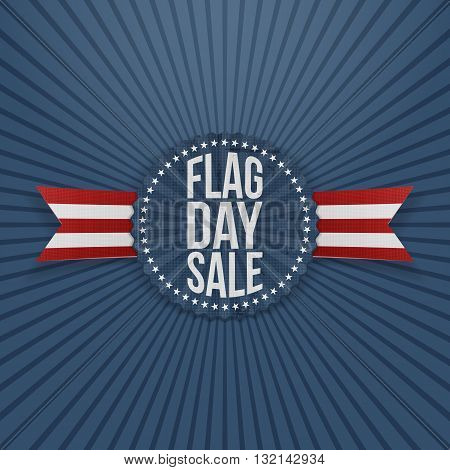 Flag Day Sale greeting Emblem with Text and Shadow. Vector Illustration