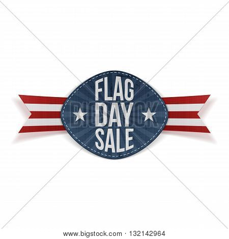 Flag Day Sale greeting Label with Ribbon and Shadow. Vector Illustration