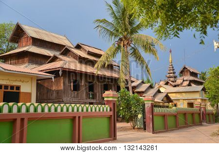 Bagan, Myanmar - April 22 2016 : Myanmar traditional house in Bagan