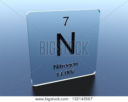Nitrogen symbol on a blue glass square 3D render