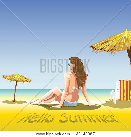 A girl with sun glasses and swimming suit at the beach and sea near palms and beach chair with towel in lines. Hello summer smiling sun. Digital vector image.