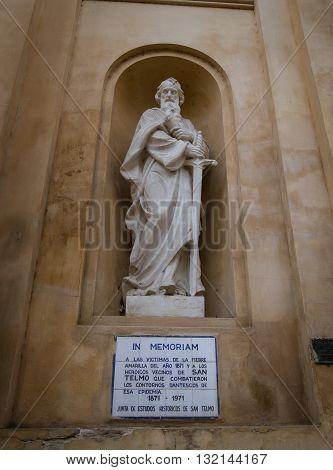 Saint leaning on a sword at a Church in San Telmo