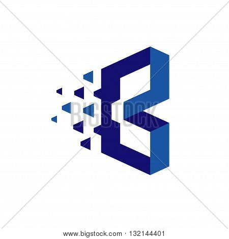 creative letter b, B technology logo 3d flat vector