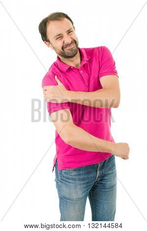 caucasian man portrait with arm pain on studio isolated white background
