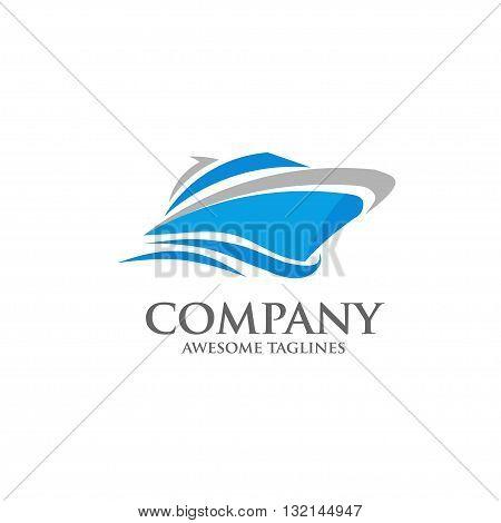 vector yacht, speed boat , ship logo