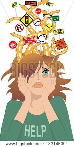 ADHD. Tangled roads with contradictory road signs coming out of a head of a young girl, as a metaphor for attention deficit disorder