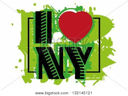 Print with lettering I love New York and green paint splashes isolated on white background. Pattern for fabric textiles clothing shirts t-shirts. Vector illustration