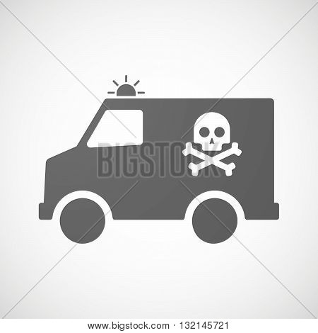 Isolated Ambulance Icon With A Skull