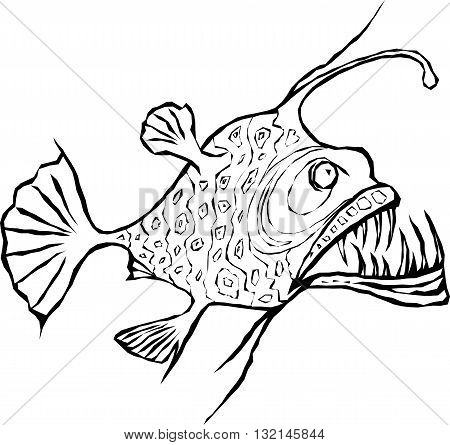 Angler fish outline vector design. EPS8 illustration