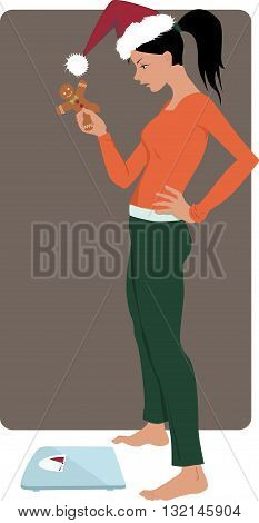Holidays overeating. Young woman in a Santa hat holding a gingerbread cookies and looking at the scales, vector illustration, EPS 8, no transparencies