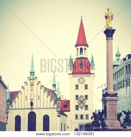 Town hall and Marian column on Marienplatz in Munich, Germany. Instagram style filtered image   on the Marienplatz in Munich, German