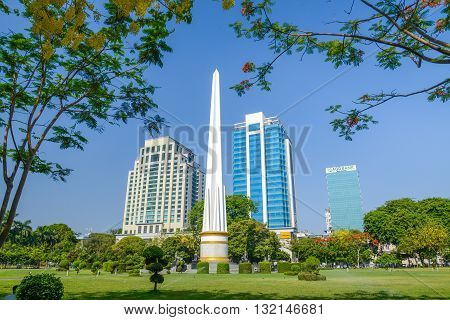 Yangon Myanmar - April 26 2016 : Independence Monument in Mahabandoola park in downtown Yangon