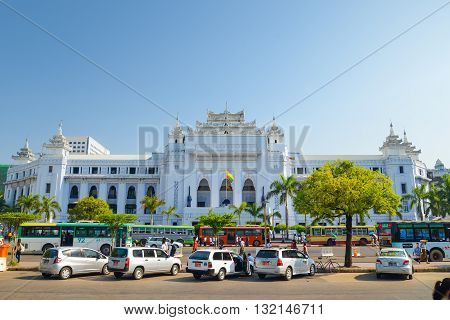 Yangon Myanmar - April 26 2016 : Yangon City Hall is located in the heart of Yangon