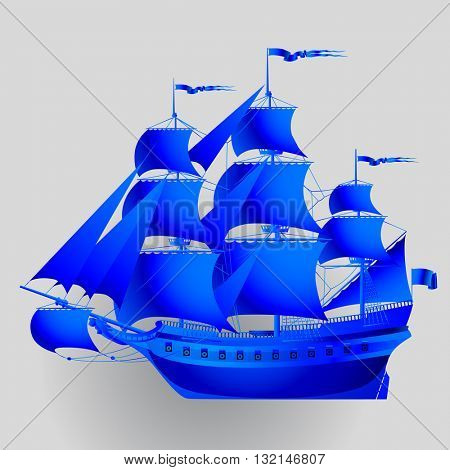 Blue paper sailing ship on gray background. Vector illustration. Contain the Clipping Path