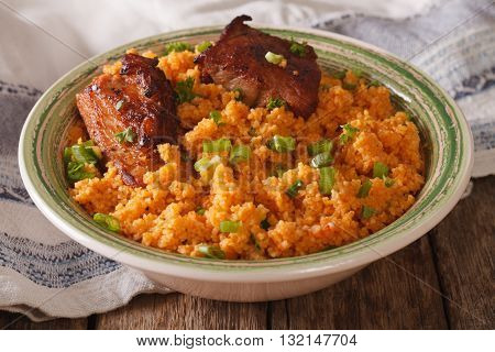 Asian Food: Beef With Bulgur Close Up On A Plate. Horizontal