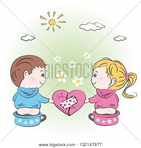 vector-valentine's day illustration with boy and girlgreeting card.