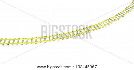 Vector image Yellow railway on white background