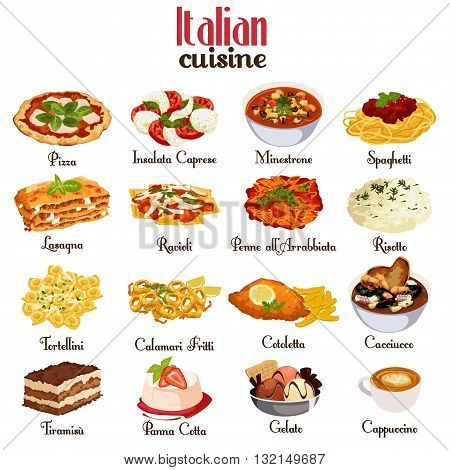A vector illustration of Italian cuisine icon sets