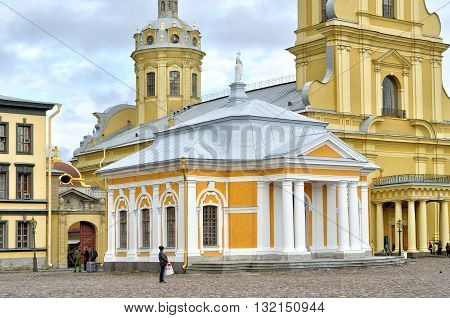 SAINT PETERSBURG RUSSIA - MAY 27 2016. Boat house of Peter the Great and Peter and Paul cathedral Peter and Paul Fortress St Petersburg Russia