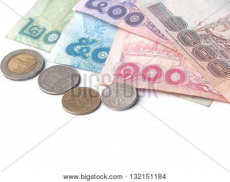 variety of thai baht on white backgroundbill 1000 500 100 50 10 and coin 10 5 2 1 thai baht