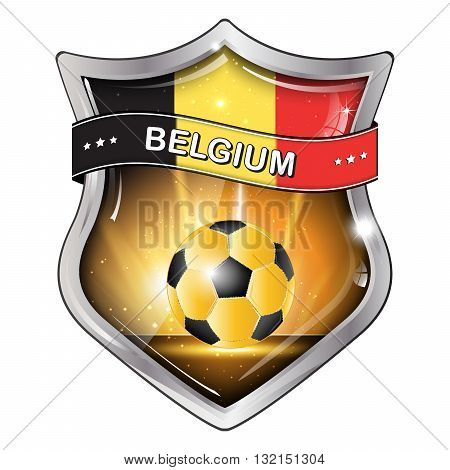 Belgium  soccer icon / label / button / sticker with soccer ball and the flag of Belgium