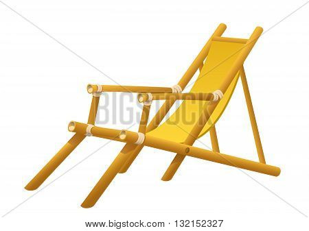 Wooden chaise lounge on a white background isolated