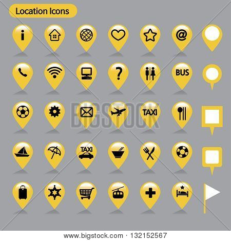 location icons _ Yellow rough map icons, simple icon