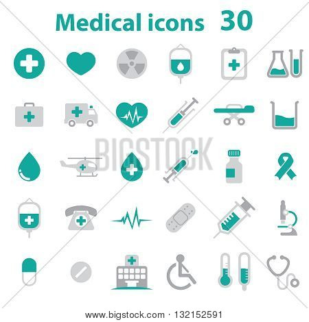 Medical Icons (cross, heart, niddle, blood, hospital, chart...)