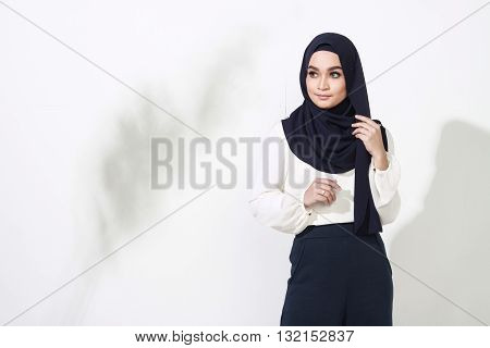 Asian Woman Model Posing On White Wall