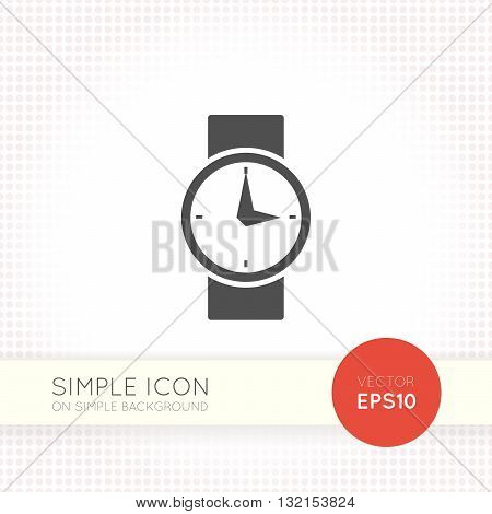 Flat Watch icon. Universal vector watch eps. Watch icon image. Illustration element for user interface of website or application. Minimalistic black watch isolated on simple background.