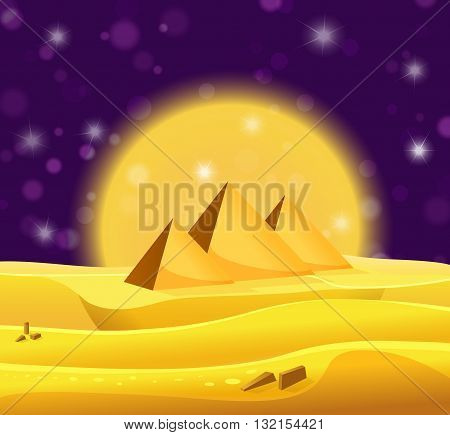Cartoon Egyptian Pyramids In The Desert With Violet Night Sky. Vector Illustration