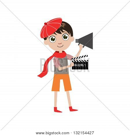 Boy Future Movie Director Simple Design Illustration In Cute Fun Cartoon Style Isolated On White Background