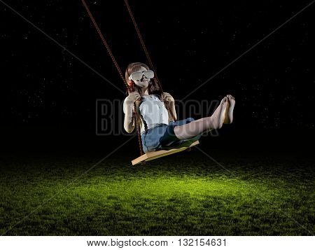 Girl riding on a swing on a background of green grass. 3d render