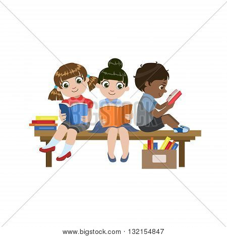 Kids Sitting On The Desk Reading Colorful Simple Design Vector Drawing Isolated On White Background