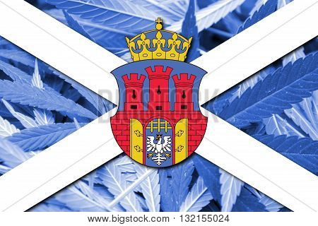 Banner With Coat Of Arms Of Cracow, Poland, On Cannabis Background