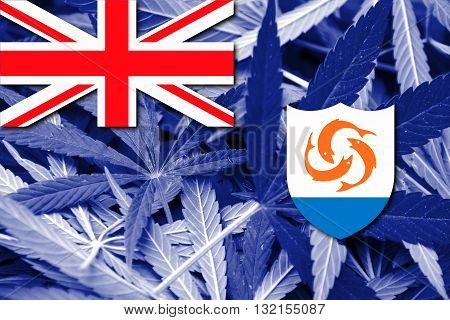Flag of Anguilla on cannabis background. Drug policy. Legalization of marijuana