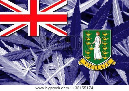 Flag Of British Virgin Islands, On Cannabis Background