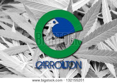Flag Of Carrolton, Texas, On Cannabis Background