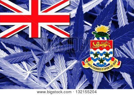 Flag Of Cayman Islands, On Cannabis Background