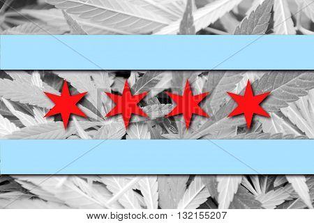 Flag Of Chicago, Illinois, On Cannabis Background