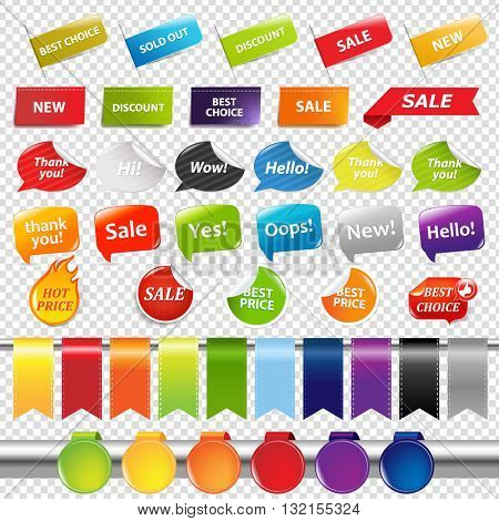 Set Of Color Sale Stickers And Labels, Isolated on Transparent Background, With Gradient Mesh, Vector Illustration