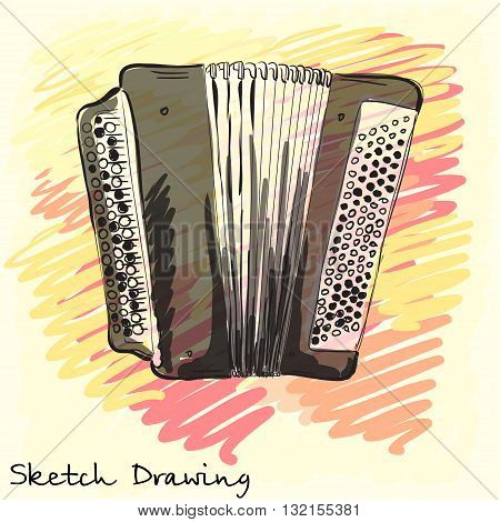 Musical instrument. Classical bayan accordion. Corporate identity sketch. Vector illustration