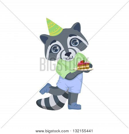 Boy Raccoon With Birthday Cake Colorful Illustration In Cute Girly Cartoon Style Isolated On White Background