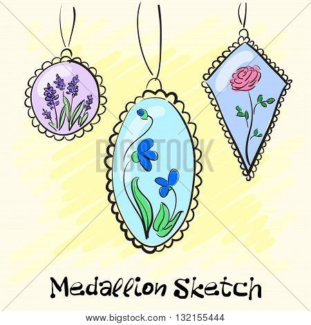 Necklace, medallions around his neck woman with a flower. Vector illustration