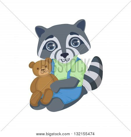 Boy Raccoon With Teddy Bear Colorful Illustration In Cute Girly Cartoon Style Isolated On White Background